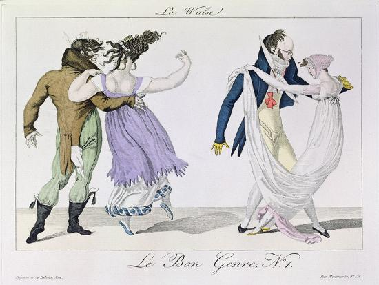Couples Dancing the Waltz, from Le Bon Genre, c.1810--Giclee Print