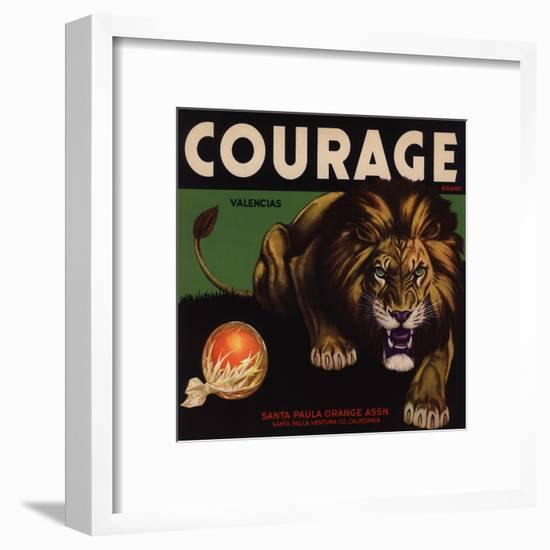 Courage Brand - Santa Paula, California - Citrus Crate Label-Lantern Press-Framed Art Print
