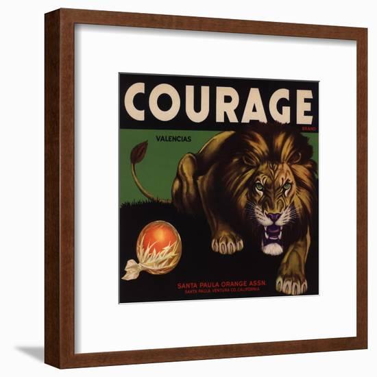Courage Brand - Santa Paula, California - Citrus Crate Label-Lantern Press-Framed Art Print