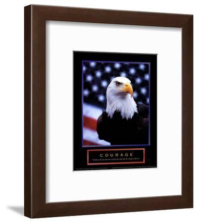 Courage: Eagle and Flag--Framed Art Print