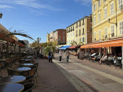 Cours Saleya Market and Restaurant Area, Old Town, Nice, Alpes Maritimes, Provence, Cote D'Azur, Fr-Peter Richardson-Photographic Print