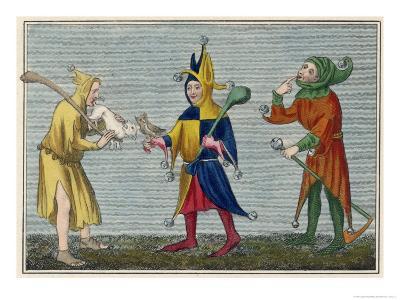 Court Jesters of the 14th Century-Joseph Strutt-Giclee Print