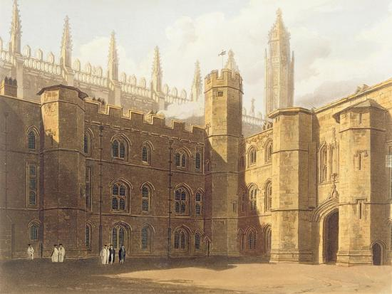 Court of King's College, Cambridge, from 'The History of Cambridge',  Engraved by Daniel Havell Giclee Print by Frederick Mackenzie   Art com