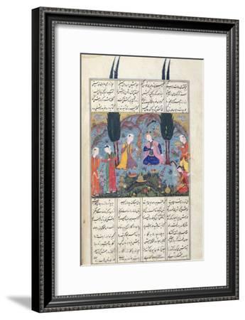 Court Scene in a Garden, Illustration from the Shahnama--Framed Giclee Print