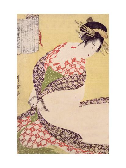 Courtesan Kneeling-Kitagawa Utamaro-Giclee Print