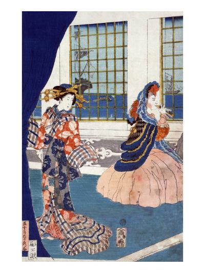 Courtesans in a Western-style Building of Yokohama, Japanese Wood-Cut Print-Lantern Press-Art Print