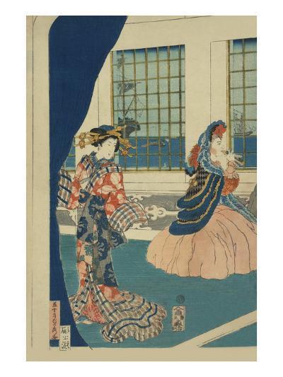Courtesans in a Western-Style Building of Yokohama (Yokohama No Yokan No Yujo)-Sadahide Utagawa-Art Print