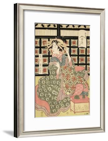 Courtesans of the Ogiya Brothel (1810-15)-Kikukawa Eizan-Framed Art Print