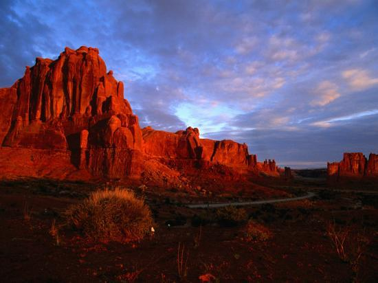 Courthouse Towers at Dusk, Arches National Park, USA-Carol Polich-Photographic Print