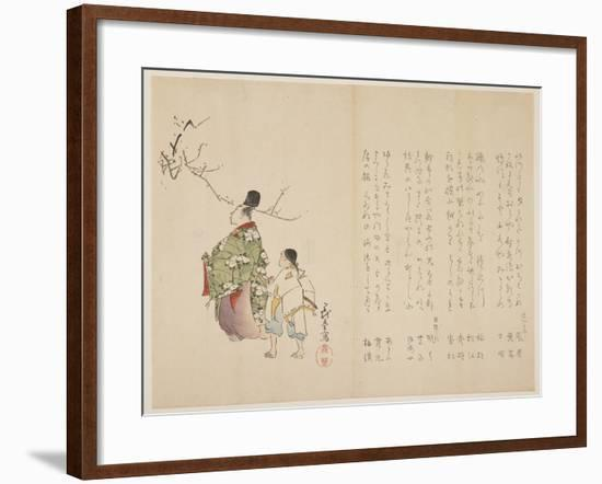 Courtier and His Servant Viewing Flowering Plum, C.1818-Shibata Git?-Framed Giclee Print