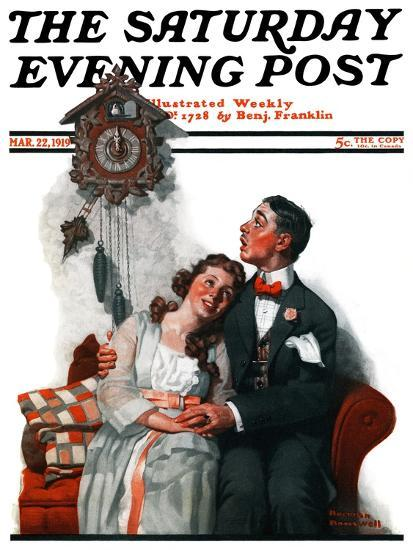 """""""Courting under the Clock at Midnight"""" Saturday Evening Post Cover, March 22,1919-Norman Rockwell-Giclee Print"""