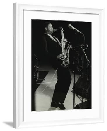 Courtney Pine on Stage at the Forum Theatre, Hatfield, Hertfordshire, 8 April 1987-Denis Williams-Framed Photographic Print