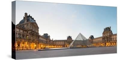 Courtyard and Glass Pyramid of the Louvre Museum at Sunrise, Paris, Ile-De-France, France