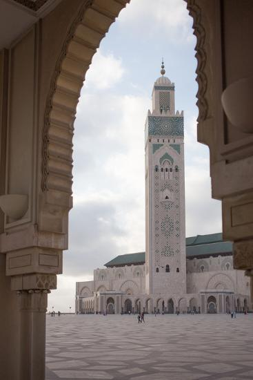 Courtyard and Minaret of the Hassan Ii Mosque, Morocco-Erika Skogg-Photographic Print