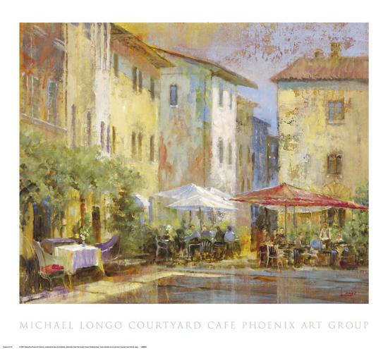 Courtyard Cafe-Michael Longo-Art Print