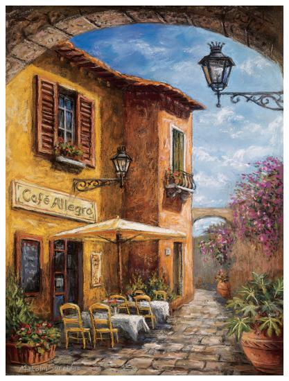 Courtyard Cafe Art Print By Malcolm Surridge Art Com