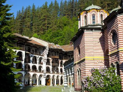 Courtyard, Dormitories and Church of the Nativity, Rila Monastery, UNESCO World Heritage Site, Nest-Dallas & John Heaton-Photographic Print