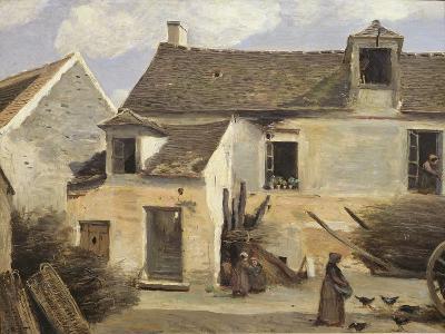 Courtyard of a Bakery Near Paris, or Courtyard of a House Near Paris, C.1865-70-Jean-Baptiste-Camille Corot-Giclee Print