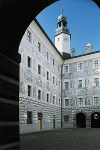 Courtyard of a Palace, Grisaille Frescoes, Ambras Palace, Innsbruck, Tyrol, Austria