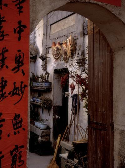 Courtyard of Huizhou-styled House with Calligraphy Couplet, China-Keren Su-Photographic Print