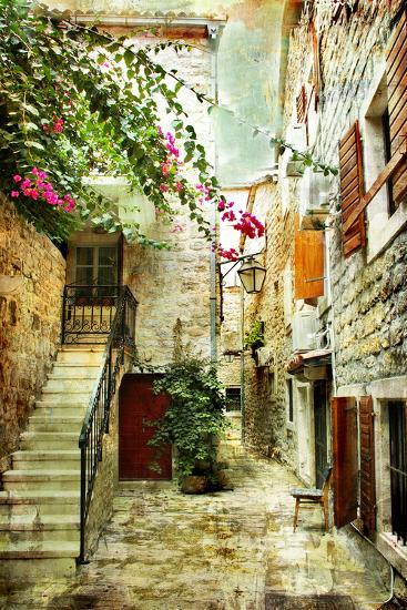 Courtyard Of Old Croatia - Picture In Painting Style-Maugli-l-Art Print