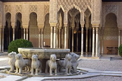 Courtyard of the Lions in the Alhambra, a Medieval Moorish City, Granada, Spain--Photographic Print