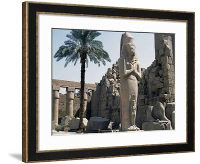 Courtyard with Colossus of Ramesses II, Karnak Temple Complex--Framed Photographic Print
