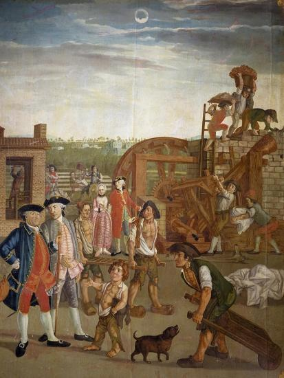 Courtyard with Machines for Fulling Fabrics, 1764-Gabriel Maria Rossetti-Giclee Print