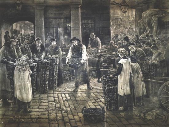 Covent Garden Scene - Women Workers Standing, C1862-1935-Francis William Lawson-Giclee Print