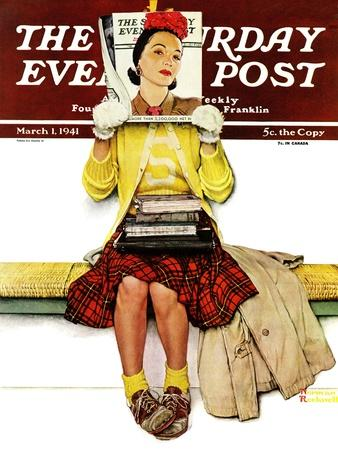 """""""Cover Girl"""" Saturday Evening Post Cover, March 1,1941-Norman Rockwell-Premium Giclee Print"""