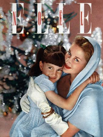 Cover of French Magazine Elle December, 1948: a Mother with Her Daughter in Front of Christmas Tree