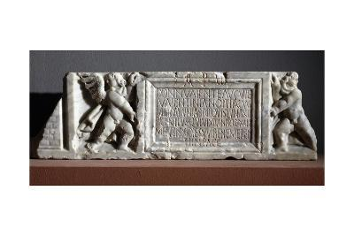 Cover of Marble Sarcophagus with Cupids Supporting Banner with Inscription--Giclee Print