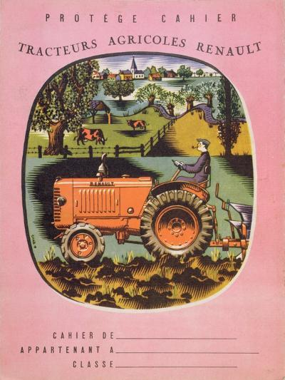 Cover of School Exercise Book Showing a Renault Tractor, 1950S--Giclee Print
