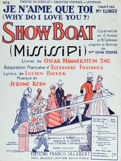 Cover of Score of the Operetta 'Showboat', Produced at the Theatre Du Chatelet in 1928--Giclee Print