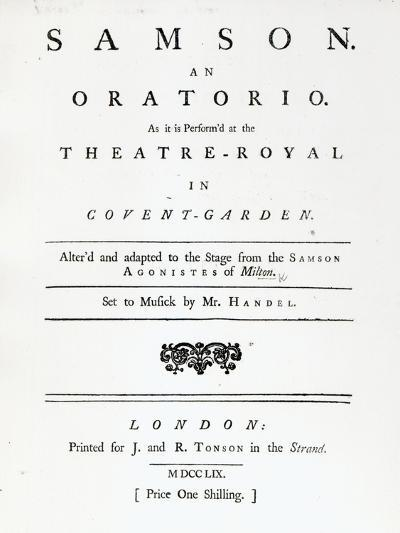 Cover of Sheet Music for Samson, an Oratorio by Handel, published in 1759--Giclee Print