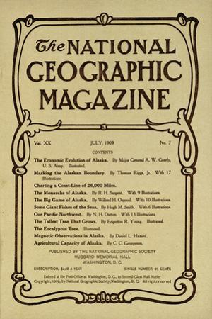 Cover of the July, 1909 National Geographic Magazine