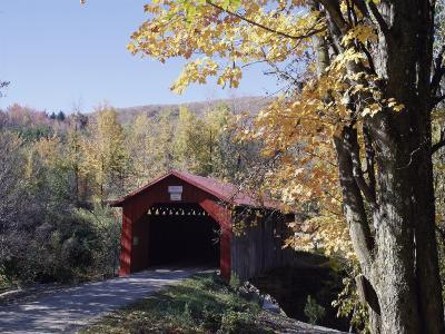 Covered Bridge in Fall--Photographic Print