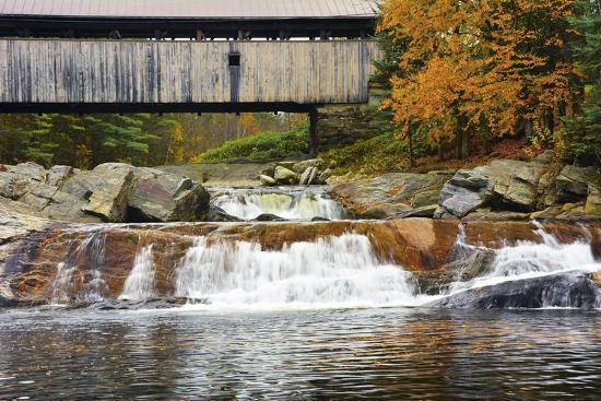 Covered bridge over Wild Ammonoosuc River, New Hampshire, USA-Michel Hersen-Photographic Print