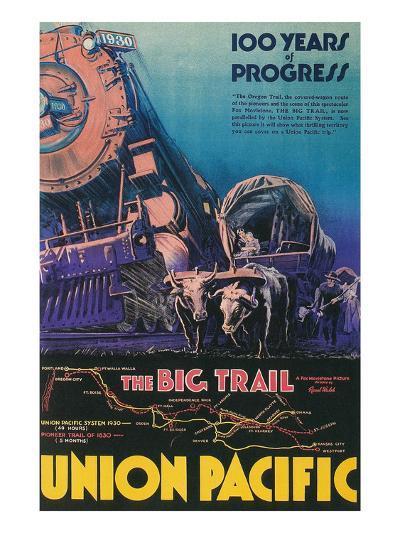 Covered Wagon, Locomotive--Art Print