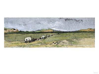 Covered Wagons Nearing the Junction of the Forks of the Platte River in Nebraska--Giclee Print