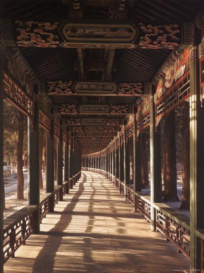 Covered Walkway at Summer Palace in Beijing, China-Dmitri Kessel-Photographic Print