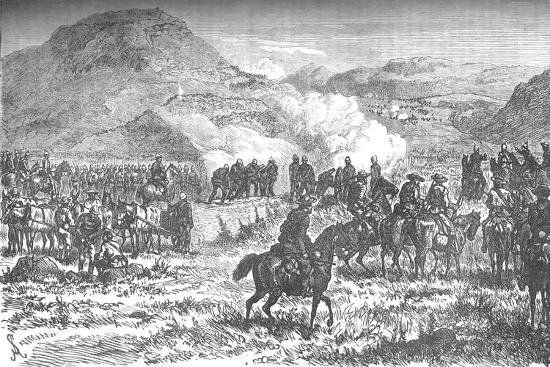 'Covering the retreat of the fifty-eighth regiment after the Battle of Laing's Nek', c1880-Unknown-Giclee Print