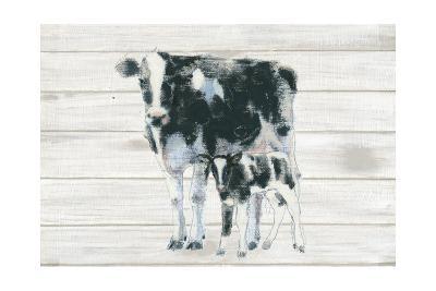 Cow and Calf on Wood-Emily Adams-Art Print