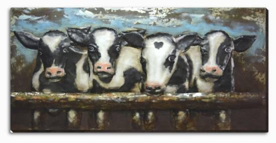 Cow Crowd Dimensional Metal Wall Art