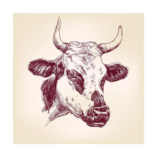 Cow Hand Drawn Vector Llustration Realistic Sketch Art Print by VladisChern  | Art com