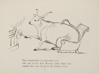 Cow in Armchair Toasting Bread On Open Fire From a Collection Of Poems and Songs by Edward Lear-Edward Lear-Giclee Print