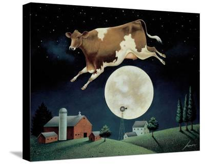 Cow Jumps over the Moon-Lowell Herrero-Stretched Canvas Print