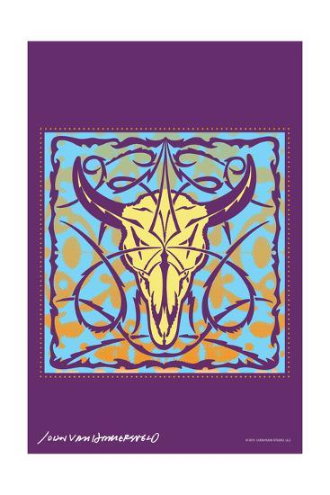 Cow Skull - John Van Hamersveld Poster Artwork-Lantern Press-Art Print