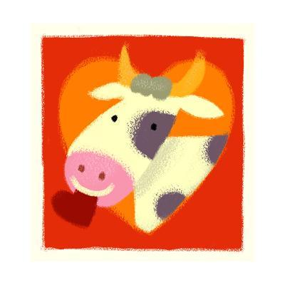 Cow with Heart--Art Print
