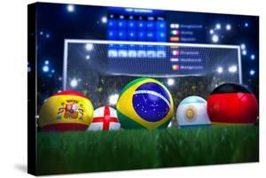 3D Rendering Of Footballs In The Year 2014 In A Football Stadium by coward_lion